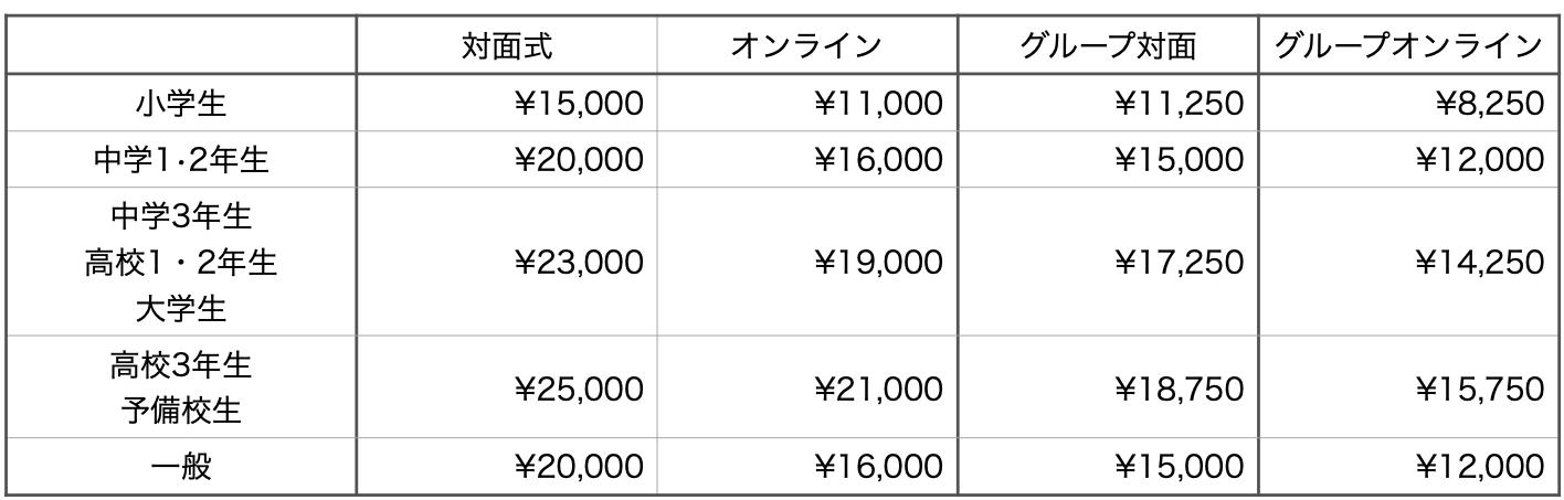 料金一覧(2021年9月〜)